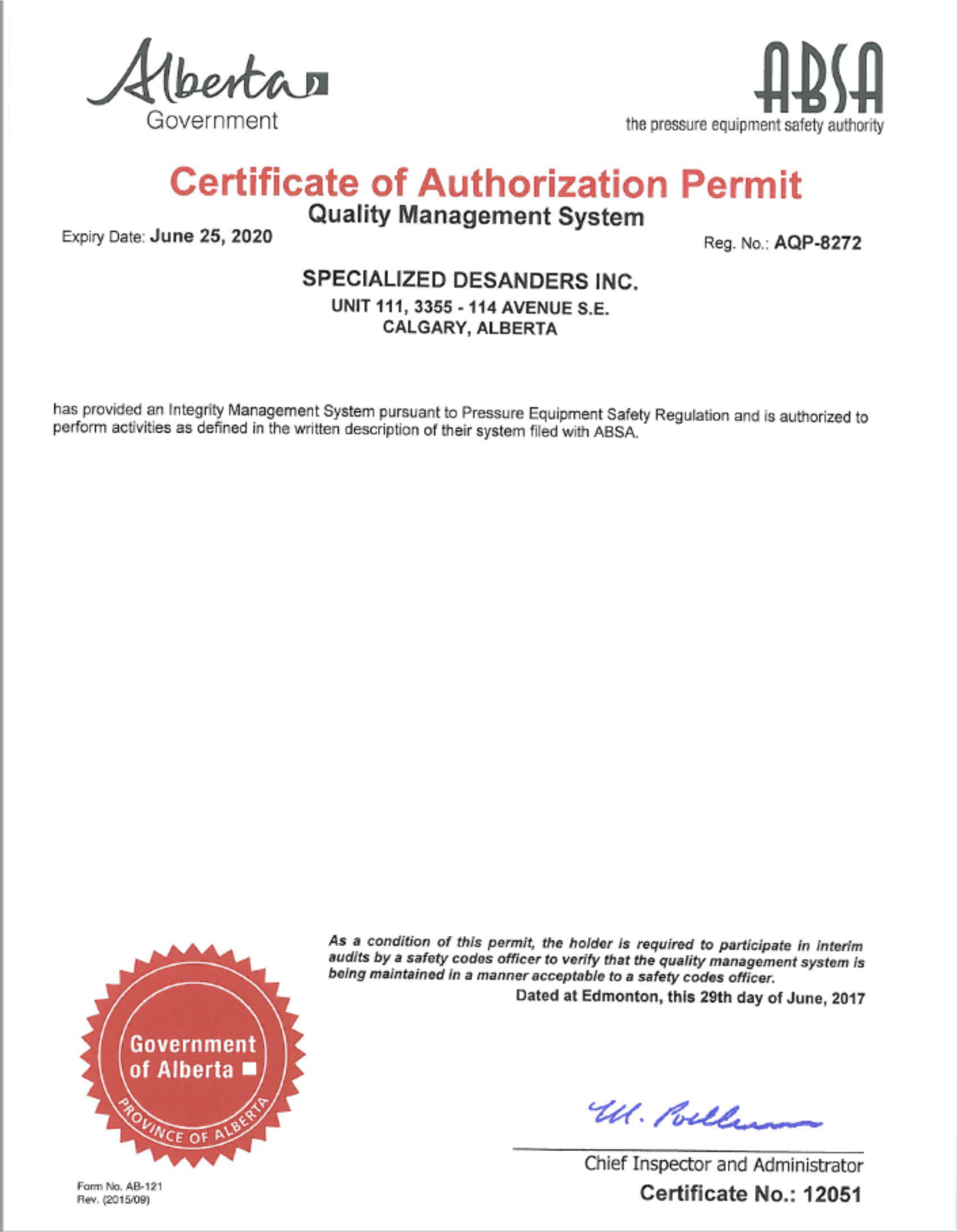 Specialized Desanders Renews Absa Certificate Of Authorization Permit To 2020 Specialized